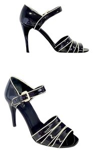 Prada Black Cream Patent Leather Sandals