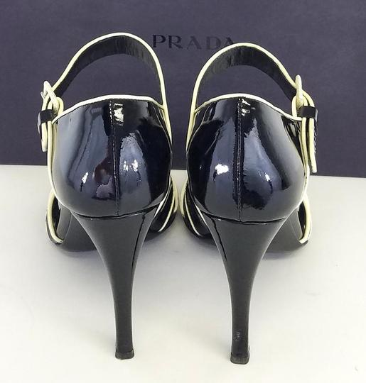 Prada Patent Leather Heels Black & Cream Sandals