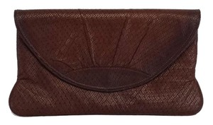 Lauren Merkin Brown Leather Woven Clutch