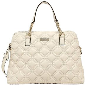 Kate Spade Quilted Leather Neutral Satchel in Bone