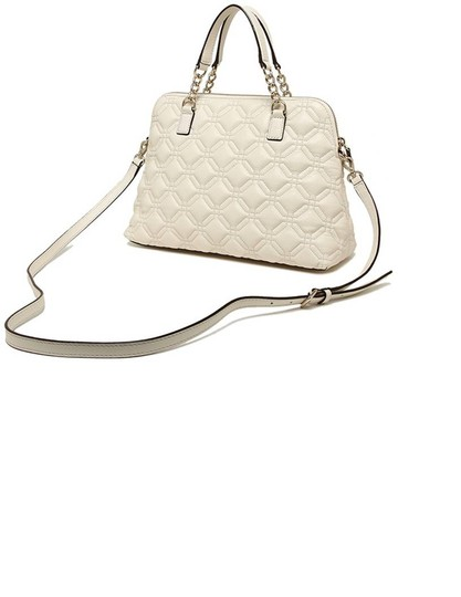 Kate Spade Quilted Leather Neutral Satchel in Bone Image 1
