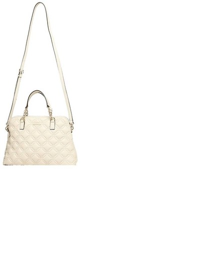 Kate Spade Quilted Leather Neutral Satchel in Bone Image 6