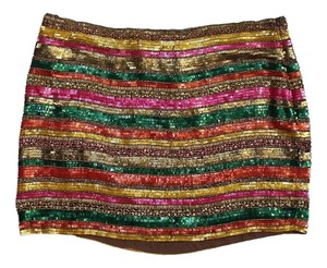 Haute Hippie Multi Color Beaded Silk Skirt