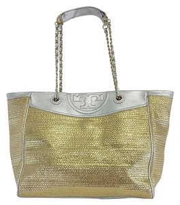 Tory Burch Gold Silver Wicker Tote