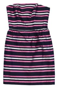 MILLY short dress Multi Color Striped Silk Strapless on Tradesy