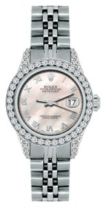 Rolex 1.8CT LADIES ROLEX DATEJUST S/S WATCH WITH ROLEX BOX&APPRAISAL
