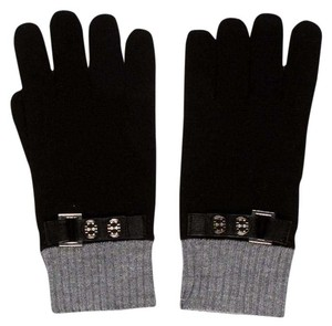 Tory Burch Grey black Tory Burch silver Reva logo buttons wool gloves