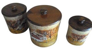 Repp Pottery Canister Set Farm Scene Hand Painted By Artist Repp