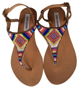 Steve Madden Beaded Flats natural leather with multi-colored beading Sandals