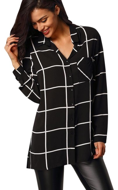 Preload https://img-static.tradesy.com/item/18549457/blackwhite-lapel-long-sleeve-plaid-pockets-blouse-size-8-m-0-1-650-650.jpg