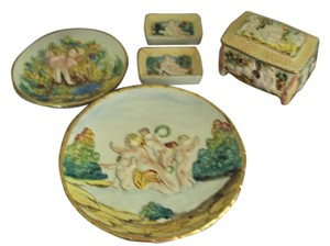 Capodimonte Capodimonte Vintage Lot Cherubs Angels Trinket Box Signed