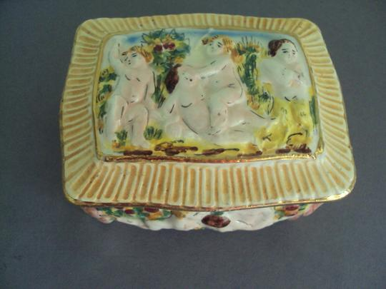 Capodimonte Capodimonte Vintage Lot Cherubs Angels Trinket Box Signed Image 4