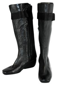 Nine West Wedge Knee High Leather Black Boots