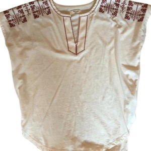 Madewell Top Cream with maroon stitching