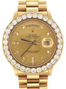 Rolex Rolex President Day-Date Orig. Champagne Dia Dial 36MM 6.0CT Dia Bezel