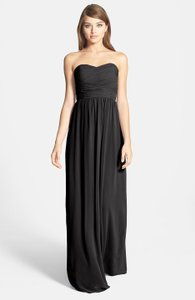 Donna Morgan Black Chiffon 'stephanie' Strapless Ruched Gown Traditional Bridesmaid/Mob Dress Size 6 (S)
