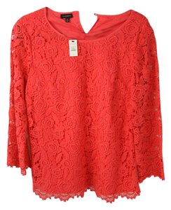Talbots Lace Lace Top Red