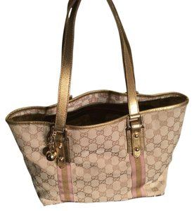Gucci Satchel in Tan/Gold/Pink