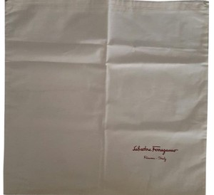 Salvatore Ferragamo Ferragamo natural linen drawstring bag with red font