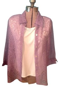 Alfred Dunner Rhinestones Tank Button Up Sheer Two Piece Button Down Shirt Liliac