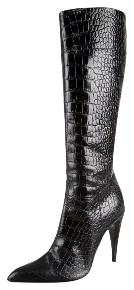 34b712b3467a4 Prada Black Croc Embossed Leather Boots/Booties Size EU 39.5 (Approx ...