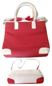 Other Silky Lining Padded Handles Tote in Rust/white w silver-tone fittings