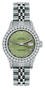 Rolex 1.8CT LADIES ROLEX DATEJUST S/S WATCH W/ ROLEX BOX&APPRAISAL