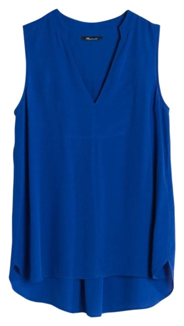 Madewell Summer V-neck Sleeveless Viscose Bright Top Brilliant Royal