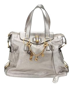 Saint Laurent Ysl Charm Tote in Silver