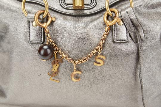 Saint Laurent Ysl Charm Muse 2 Ysl Muse Tote in Silver