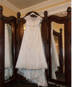 David's Bridal Cap Sleeve Lace Over Wedding Dress