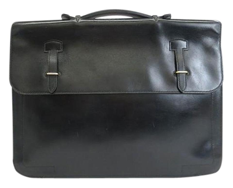 Hermès Calfskin Briefcase 15 Inches Black Box Calf Laptop Bag - Tradesy 396d086841
