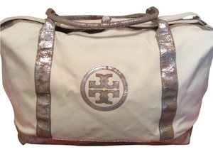 Tory Burch Winter White with tan & silver metallic details Travel Bag