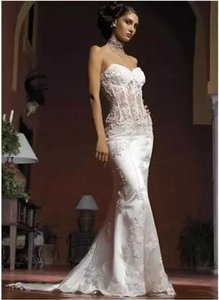 Sexy White Lace See Through Corset Fit And Flare Custom Made Wedding Dress