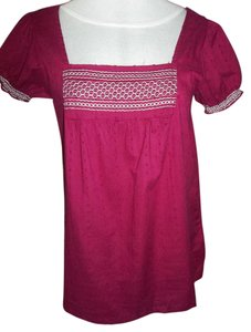 Maurices Embroidered Short Sleeve Casual Cotton Top Burgandy