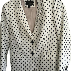 J.Crew White with navy blue polka dots Blazer