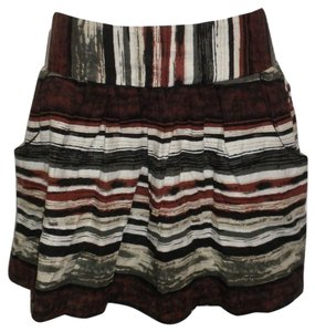 Charlotte Russe Striped Striped Small Spring Skirt Green and Brown