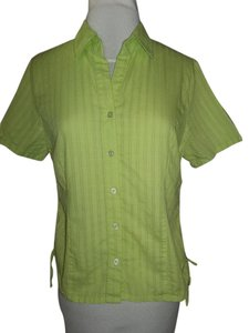 Christopher & Banks Short Sleeve Casual Button Down Shirt Light Lime Green
