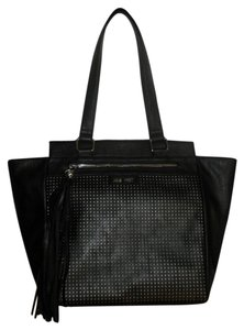 Nine West Perforated Silver Hardware Tassels Tote in Black