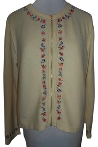 Christopher & Banks Zip Front Embroidered Cardigan