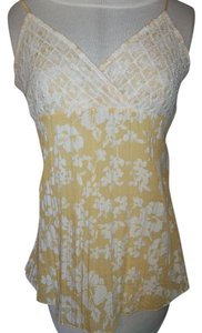 Other Embroidered Spaghetti Tie Back Gathered Look Top Yellow/White