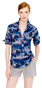 J.Crew Print Summer Spring Button Down Shirt Blue