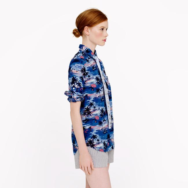 J.Crew Print Summer Spring Button Down Shirt Blue Image 1