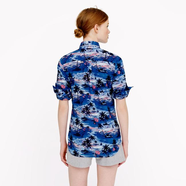 J.Crew Print Summer Spring Button Down Shirt Blue Image 2