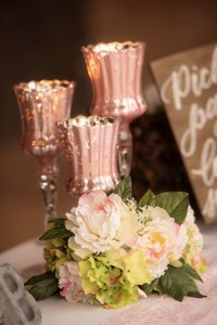 Pink Mercury Glass Pedestal Vases Candle Holders
