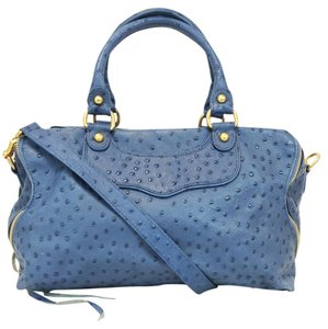 Rebecca Minkoff Ostrich Satchel in Blue Denim