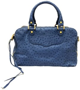 Rebecca Minkoff Ostrich Convertible Love Spell Satchel in Blue Denim