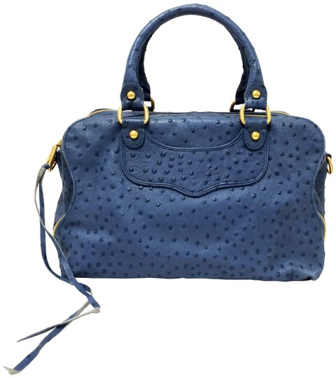 Preload https://img-static.tradesy.com/item/18553387/rebecca-minkoff-love-spell-ostrich-embossed-blue-denim-leather-satchel-0-5-540-540.jpg