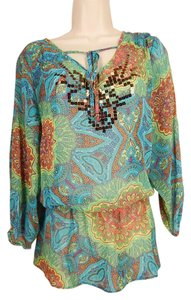 Ellen Tracy Peasant Paisley Sequins Top Multi-Color
