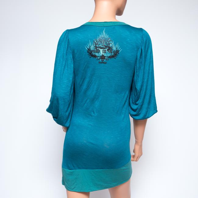 Salvage short dress Teal Graphic V-neck on Tradesy Image 3